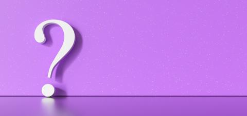 White question mark on a purple background with empty copy space on left side. 3D Rendering- Stock Photo or Stock Video of rcfotostock | RC-Photo-Stock