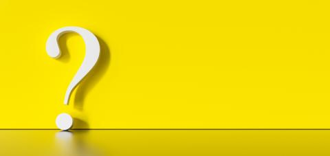White question mark on a yellow background with empty copy space on left side. 3D Rendering- Stock Photo or Stock Video of rcfotostock | RC-Photo-Stock