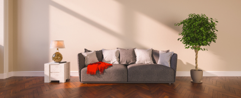 White sofa with two pillows in empty room in front of empty wall- Stock Photo or Stock Video of rcfotostock | RC-Photo-Stock