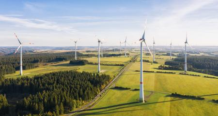 Wind farm for electric power - Energy Production with clean and Renewable Energy - aerial shot- Stock Photo or Stock Video of rcfotostock | RC-Photo-Stock