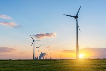 wind farm with coal power plant at sunset : Stock Photo or Stock Video Download rcfotostock photos, images and assets rcfotostock | RC-Photo-Stock.:
