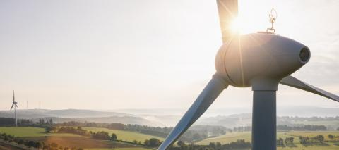 Wind turbine and agricultural fields - Energy Production with clean and Renewable Energy - copyspace for your individual text, banner size- Stock Photo or Stock Video of rcfotostock | RC-Photo-Stock