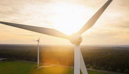 Wind turbine and agricultural fields - Energy Production with clean and Renewable Energy - copyspace for your individual text- Stock Photo or Stock Video of rcfotostock | RC-Photo-Stock