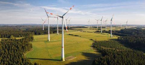 Wind turbine from aerial view - Sustainable development, environment friendly, renewable energy concept.- Stock Photo or Stock Video of rcfotostock | RC-Photo-Stock
