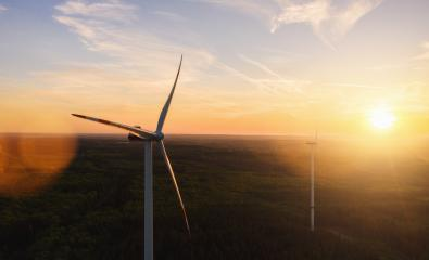 Wind Turbine in the sunset seen from an aerial view - Stock Photo or Stock Video of rcfotostock | RC-Photo-Stock