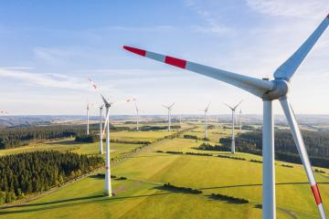 Wind turbine view from drone - Sustainable development, environment friendly, renewable energy concept.- Stock Photo or Stock Video of rcfotostock | RC-Photo-Stock