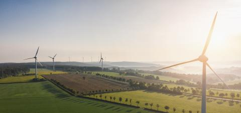 Wind turbines and agricultural fields - Energy Production with clean and Renewable Energy - copyspace for your individual text, banner size- Stock Photo or Stock Video of rcfotostock | RC-Photo-Stock