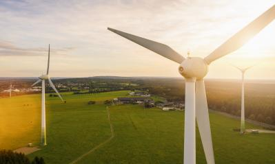 Wind turbines and agricultural fields - Energy Production with clean and Renewable Energy - copyspace for your individual text- Stock Photo or Stock Video of rcfotostock | RC-Photo-Stock