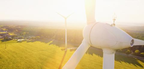Wind turbines and agricultural fields on a summer day - Energy Production with clean and Renewable Energy - aerial shot, copyspace for your individual text- Stock Photo or Stock Video of rcfotostock | RC-Photo-Stock