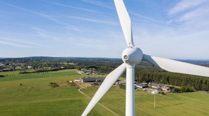 Wind turbines and agricultural fields on a summer day bleu sky - Energy Production with clean and Renewable Energy - aerial shot, copyspace for your individual text- Stock Photo or Stock Video of rcfotostock | RC-Photo-Stock