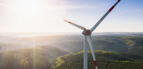 Wind turbines farm and Landscape on a summer day - Energy Production with clean and Renewable Energy - aerial drone shot- Stock Photo or Stock Video of rcfotostock   RC-Photo-Stock