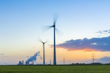 Wind turbines with coal-fired plant at sunset in germany : Stock Photo or Stock Video Download rcfotostock photos, images and assets rcfotostock | RC-Photo-Stock.: