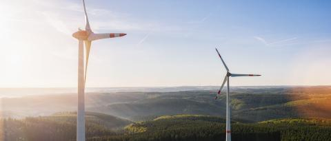 Windmills for electric power - Energy Production with clean and Renewable Energy - aerial drone shot- Stock Photo or Stock Video of rcfotostock | RC-Photo-Stock