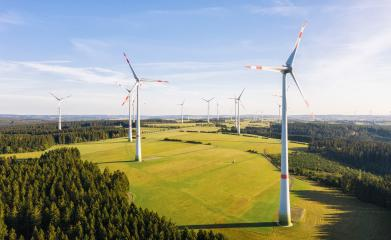 Windmills for electric power - Energy Production with clean and Renewable Energy - aerial drone shot : Stock Photo or Stock Video Download rcfotostock photos, images and assets rcfotostock | RC-Photo-Stock.: