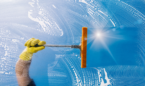 Window cleaner cleans window with  puller and foam- Stock Photo or Stock Video of rcfotostock | RC-Photo-Stock