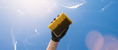 window cleaner with sponge and gloves cleaning glass window, banner size, Cleaning concept image- Stock Photo or Stock Video of rcfotostock | RC-Photo-Stock