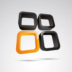 window frame 3d vector icon as logo formation in black and orange glossy colors, Corporate design. Vector illustration. Eps 10 vector file.- Stock Photo or Stock Video of rcfotostock | RC-Photo-Stock