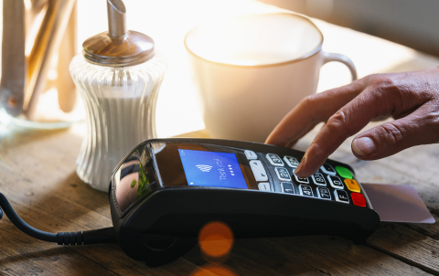 Woman hand enters PIN code on payment terminal in a bar.- Stock Photo or Stock Video of rcfotostock | RC-Photo-Stock
