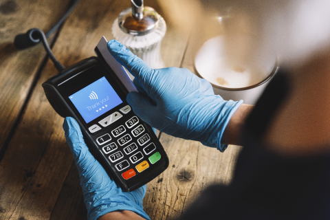 Woman hand with medical latex protective gloves swipe  credit card through terminal forpay in restaurant. Protection for Coronavirus COVID-19.  : Stock Photo or Stock Video Download rcfotostock photos, images and assets rcfotostock | RC-Photo-Stock.:
