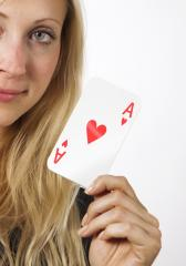Woman shows Ace card- Stock Photo or Stock Video of rcfotostock | RC-Photo-Stock