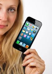woman shows iphone 5- Stock Photo or Stock Video of rcfotostock | RC-Photo-Stock