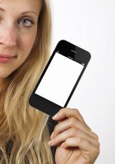 Woman shows smart phone- Stock Photo or Stock Video of rcfotostock | RC-Photo-Stock