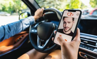 Woman use Dating app or site in mobile phone screen in a car. Woman swiping and liking profiles on relationship site or application. Single woman using smartphone to find love, partner and boyfriend.- Stock Photo or Stock Video of rcfotostock | RC-Photo-Stock