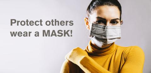Woman wearing an anti virus protection mask to prevent others from corona COVID-19 and SARS cov 2 infection- Stock Photo or Stock Video of rcfotostock | RC-Photo-Stock