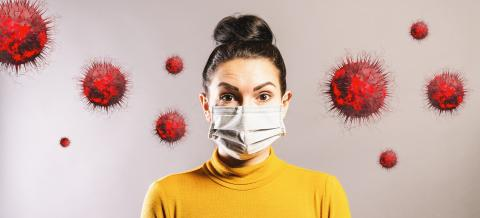 Woman wearing anti virus protection mask to protect from corona COVID-19 and SARS cov 2 infection- Stock Photo or Stock Video of rcfotostock | RC-Photo-Stock
