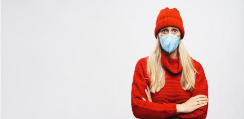 Woman wearing N95 FFP2 an anti virus protection mask to prevent others from corona COVID-19 and SARS cov 2 infection in autumn outfit, with copy space for individual text : Stock Photo or Stock Video Download rcfotostock photos, images and assets rcfotostock | RC-Photo-Stock.: