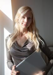 Woman with laptop near window- Stock Photo or Stock Video of rcfotostock | RC-Photo-Stock