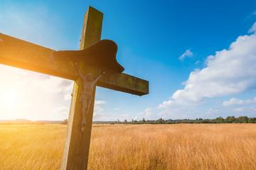 wooden cross religion symbol at a hiking trail in Belgium, Hohes Venn- Stock Photo or Stock Video of rcfotostock | RC-Photo-Stock