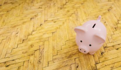 wooden floor with a piggy bank  - copyspace for your individual text.- Stock Photo or Stock Video of rcfotostock | RC-Photo-Stock