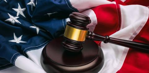 Wooden gavel and USA flag- Stock Photo or Stock Video of rcfotostock | RC-Photo-Stock