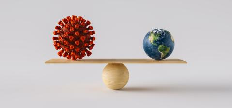 wooden scale balancing big Earth ball and Coronavirus. Concept of harmony and balance : Stock Photo or Stock Video Download rcfotostock photos, images and assets rcfotostock | RC-Photo-Stock.: