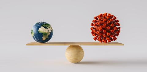 wooden scale balancing big Earth ball and Coronavirus or Covid-19. Concept of harmony and balance- Stock Photo or Stock Video of rcfotostock | RC-Photo-Stock