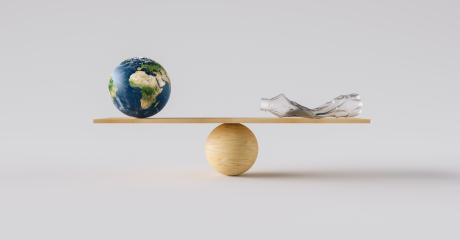 wooden scale balancing big Earth ball and crushed plastic bottle. Concept of environmental Protection and balance- Stock Photo or Stock Video of rcfotostock | RC-Photo-Stock