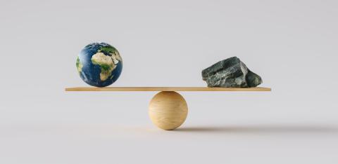 wooden scale balancing big Earth ball and rock. Concept of harmony and balance- Stock Photo or Stock Video of rcfotostock | RC-Photo-Stock