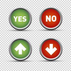 Yes and No icons / web buttons set on checked transparent background. Vector illustration. Eps 10 vector file.- Stock Photo or Stock Video of rcfotostock | RC-Photo-Stock
