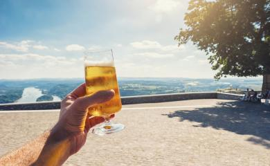 young man drinks fresh beer in a beer garden at summer- Stock Photo or Stock Video of rcfotostock | RC-Photo-Stock
