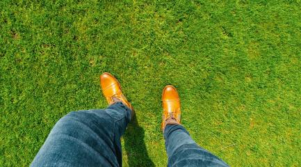 Young man standing in freshly mown grass lawn, top view of casually dressed person in leather shoes- Stock Photo or Stock Video of rcfotostock | RC-Photo-Stock