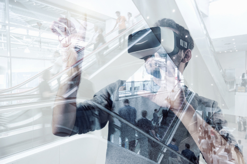 young man testing virtual reality technology- Stock Photo or Stock Video of rcfotostock | RC-Photo-Stock