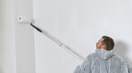 young painter working with paint roller to paint the wall of a room. do it yourself concept image with copy space- Stock Photo or Stock Video of rcfotostock | RC-Photo-Stock