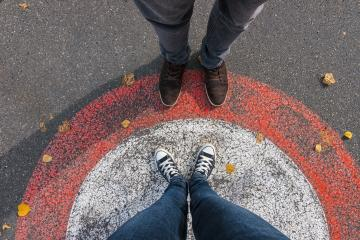 young woman and man facing each other at the streets in a circle, personal pespective - pov : Stock Photo or Stock Video Download rcfotostock photos, images and assets rcfotostock | RC-Photo-Stock.: