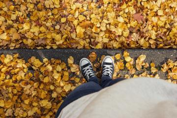 Young woman in sneakers stands in at a curbstone with foliage leafs at autumn on the streets, personal pespective from above.- Stock Photo or Stock Video of rcfotostock | RC-Photo-Stock