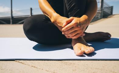 young woman sit on blue yoga or fitness mat after working out. keep fit concepts image : Stock Photo or Stock Video Download rcfotostock photos, images and assets rcfotostock | RC-Photo-Stock.: