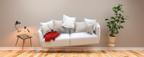 Zero gravity living room with hoovering sofa and furniture- Stock Photo or Stock Video of rcfotostock | RC-Photo-Stock