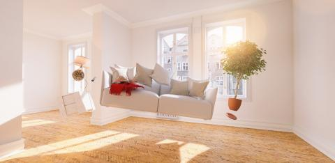 Zero Gravity Sofa hovering in living room with furniture - Stock Photo or Stock Video of rcfotostock | RC-Photo-Stock