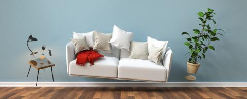 Zero Gravity Sofa hovering in living room with furniture banner size- Stock Photo or Stock Video of rcfotostock | RC-Photo-Stock