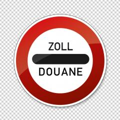 Zoll Douane road sign. EU or German sign at a toll station. Zoll and Douane both mean toll in english on checked transparent background. Vector illustration. Eps 10 vector file. : Stock Photo or Stock Video Download rcfotostock photos, images and assets rcfotostock | RC-Photo-Stock.:
